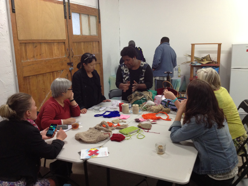 PNG Bilum Workshops with Aunty Vicky Kinai at Colour Box Studio, Footscray, Melbourne.