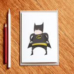 Fat Batman card - $5.50 by Milk & Cookies.