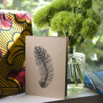 Guinea fowl feather screen printed card $7 incl. envelope by Feather & Spear