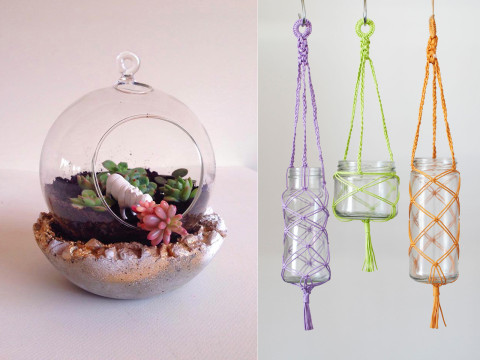 DIY Terrarium, Pot & Macramé Hanger in One Day