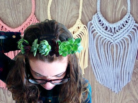 FLOWER CROWN AND UPCYCLED MACRAMÉ NECKLACE: DOUBLE WORKSHOP