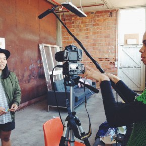 Sharmane and Amie working on a Pozible video. Image by Kristina Arnott.