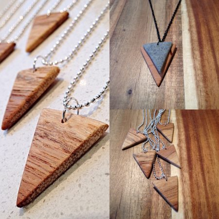 Handmade natural wood pendants on silver ball chain & distressed natural wood and stone polymer clay pendant on black chain by Lila&I.